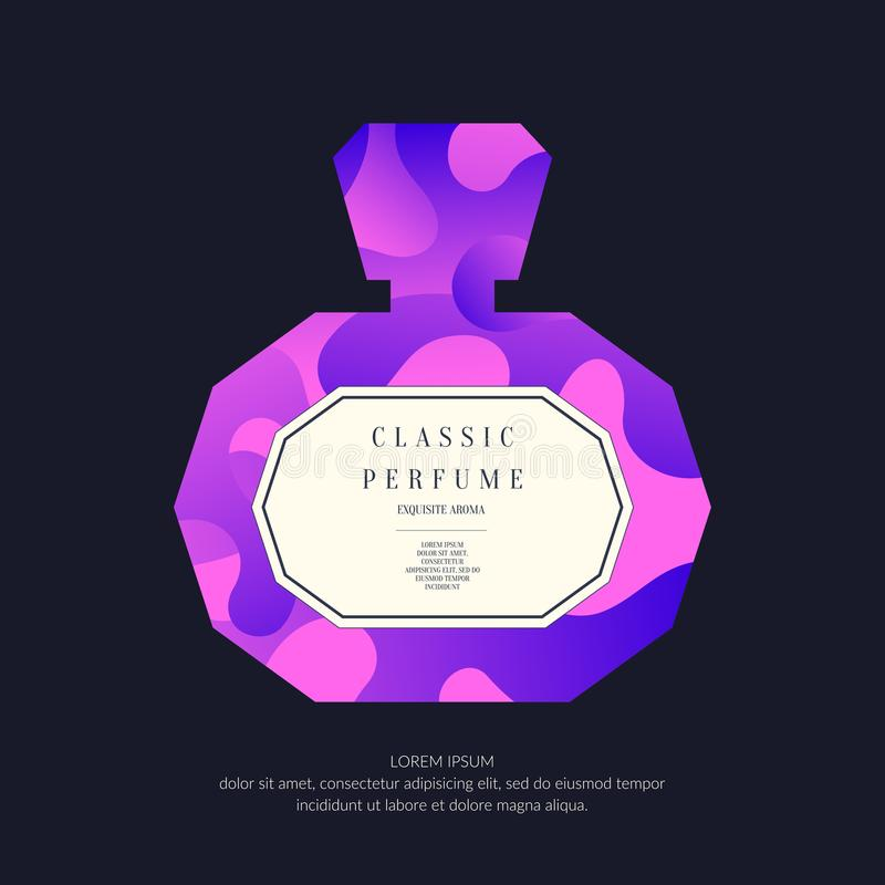 Perfume bottle with dynamic lines and waves. Bright modern poster for advertising and sale Fragrance. royalty free illustration