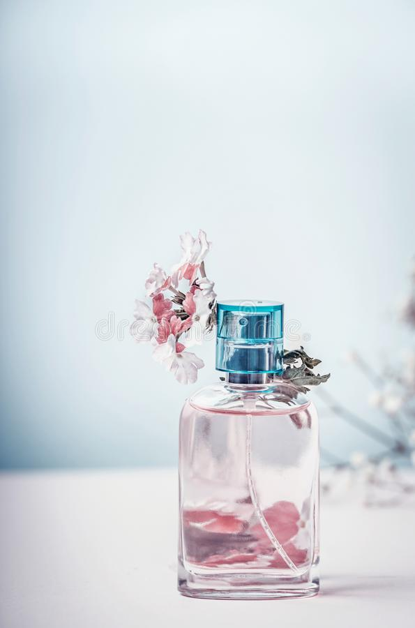 Perfume bottle with flowers, front view. Perfumery, cosmetics, botanical fragrance concept. Pastel color royalty free stock photography