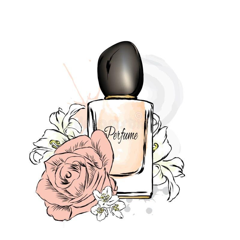 Perfume bottle and flowers. stock illustration