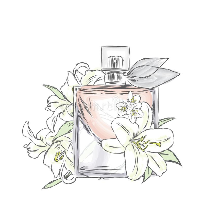 Perfume bottle and flowers. Vector . Print on a postcard, poster or clothing.  royalty free illustration