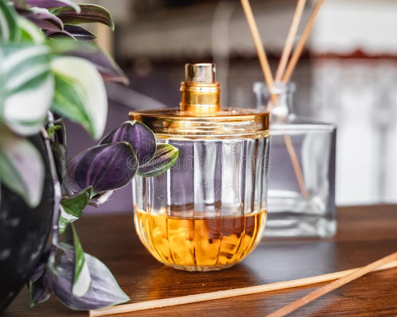 Perfume bottle and incense royalty free stock photos