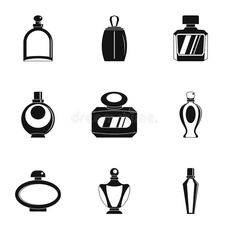Perfume bottle product icon set, simple style stock illustration
