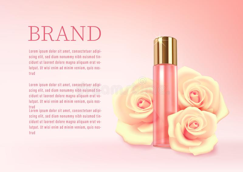 Perfume bottle with a rose aroma, pink background with perfume and flowers of roses royalty free illustration