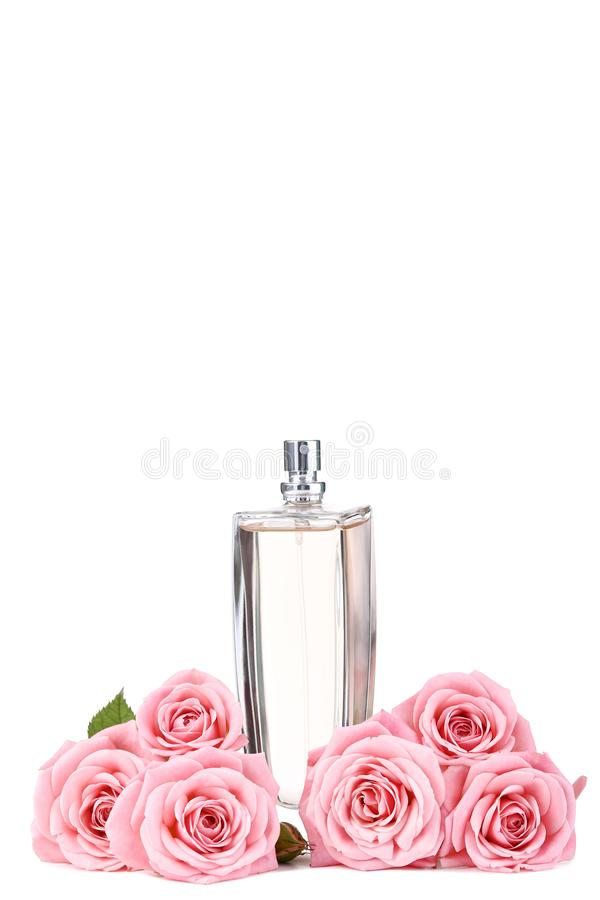 Perfume bottle with roses stock photos