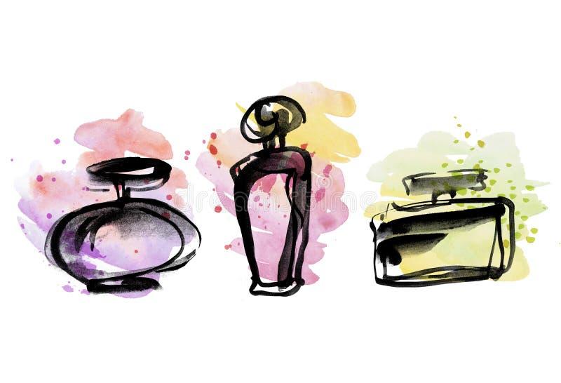 Perfume bottles group sketch. vector illustration