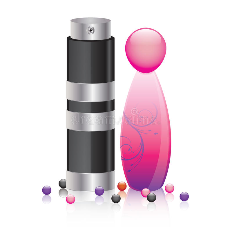 Perfume bottles for man and woman. Illustration of two perfume bottles for him and her vector illustration