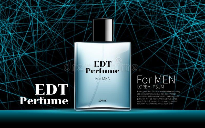 Perfume clássico do ` s dos homens contido em uma garrafa azul de vidro quadrada ilustração stock
