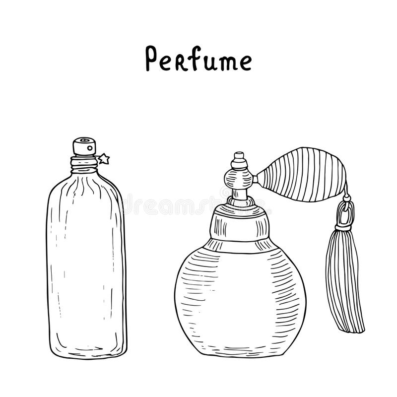 Perfume collection. Vintage perfume bottles. Perfume spray with tassel and futuristic fragrance can with a star vector illustration