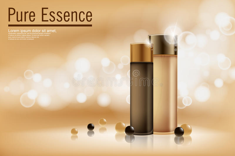 Perfume contained on bronze background with soft bokeh. Poster for the promotion of moisturizing and nourishing cosmetic vector illustration
