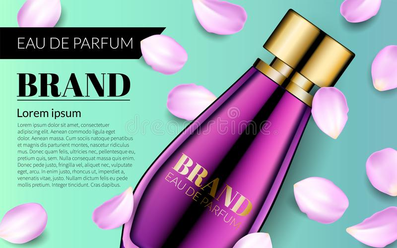 Perfume Contained in Glass Mock up with Falling petals Flowers Background. Woman Glamour Pink Rose Water Spray Bottle. stock illustration