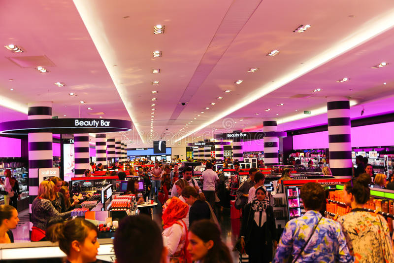 Perfume and cosmetics Shop - Paris. France - Paris - Aug. 23 2014 : Shopping at Sephora Perfume and cosmetics Shop in Champs-Elysees street With over 100 stores royalty free stock photography
