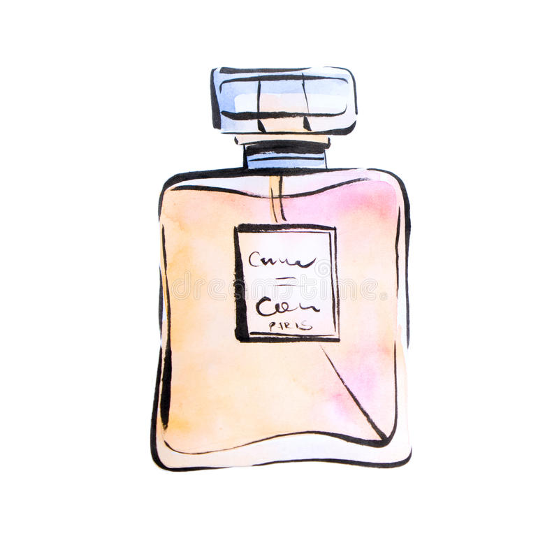 Perfume da aquarela, ilustração da forma dos espírito ilustração do vetor