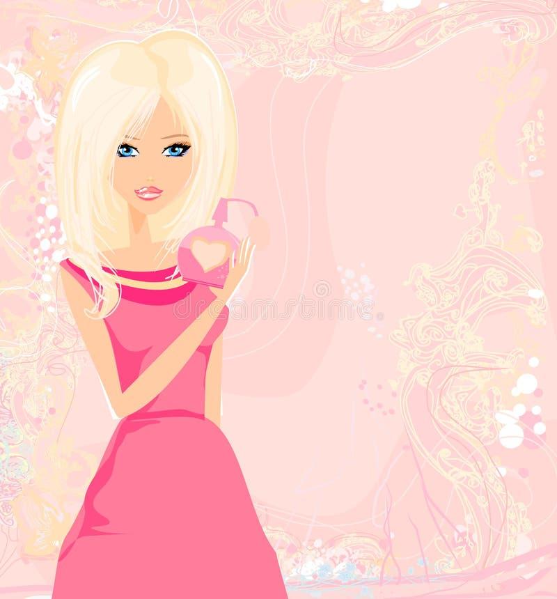 Perfume de rociadura de la mujer joven en sí misma libre illustration