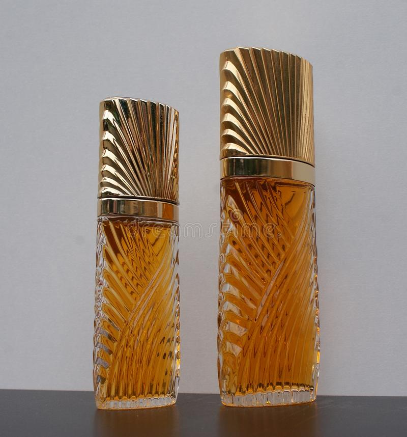 Diva, fragrance for ladies, large perfume bottle next to a commercial perfume bottle. The perfume Diva is distributed by Emanuel Ungaro an internationally known royalty free stock photography