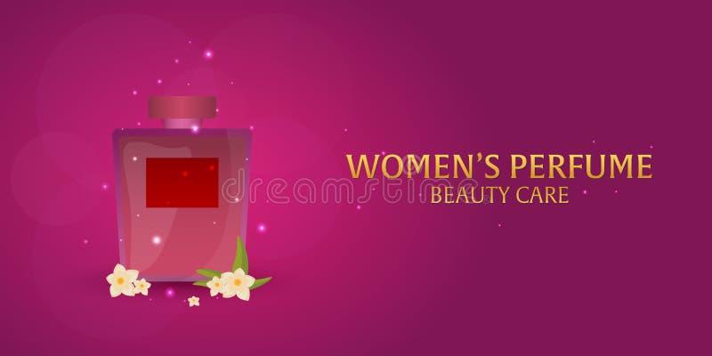 Perfume do ` s das mulheres da bandeira Cuidado da beleza Garrafa clássica do perfume Aromaterapia luxuosa líquida da fragrância  ilustração royalty free
