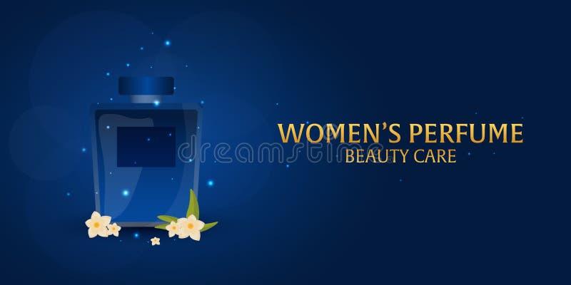 Perfume do ` s das mulheres da bandeira Cuidado da beleza Garrafa clássica do perfume Aromaterapia luxuosa líquida da fragrância  ilustração stock