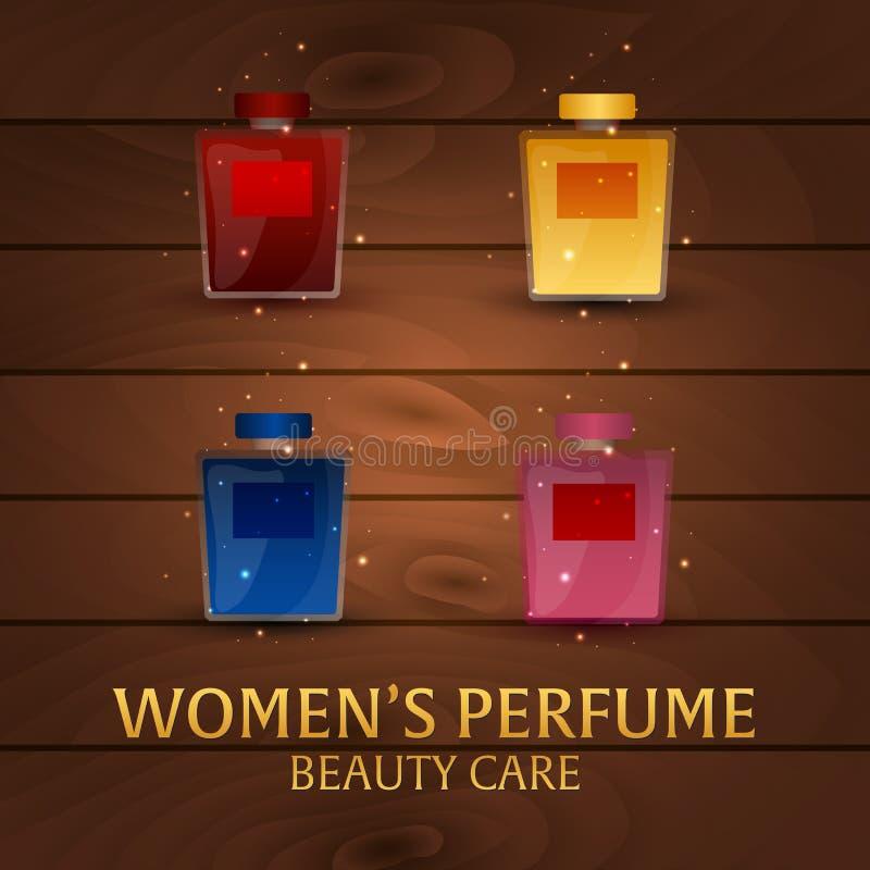 Perfume do ` s das mulheres da bandeira Fundo de madeira Cuidado da beleza Garrafa clássica do perfume Aromaterapia luxuosa líqui ilustração stock