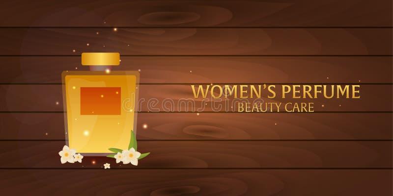 Perfume do ` s das mulheres da bandeira Fundo de madeira Cuidado da beleza Garrafa clássica do perfume Aromaterapia luxuosa líqui ilustração do vetor