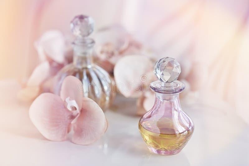 Perfume e garrafas de óleos aromáticas cercados por flores imagem de stock royalty free
