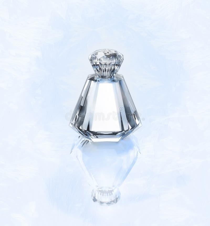 Perfume en una botella de cristal en un fondo plateado escarchado foto de archivo libre de regalías