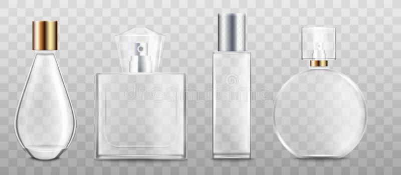 Perfume or fragrance bottles 3d realistic vector illustration mockup isolated. vector illustration