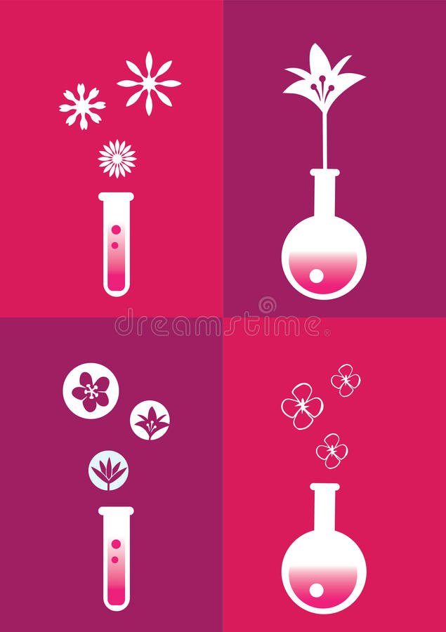 Perfume Fragrance Concept Symbols and Icons Vector Illustration royalty free illustration