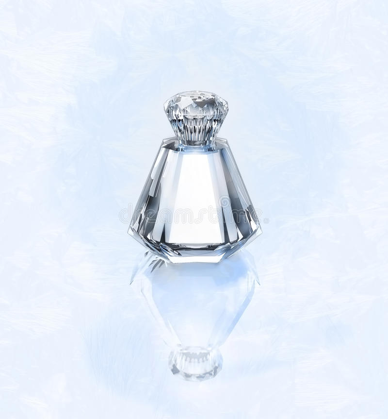 Perfume in a glass bottle on a frosty silvery background. Perfume on a frosty silvery background royalty free stock photo