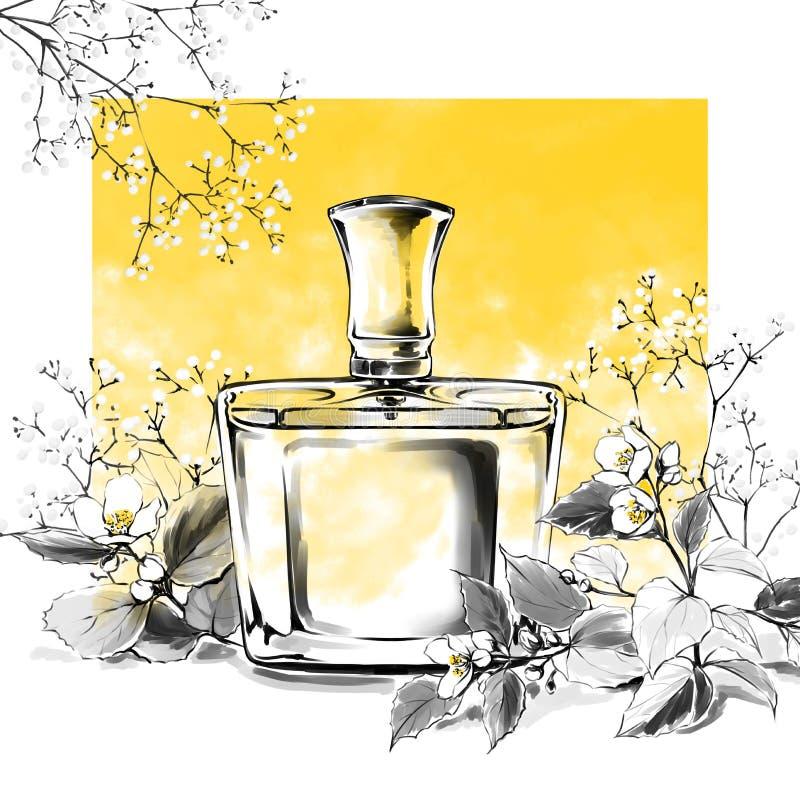 Perfume a ilustração da aquarela da fragrância do vidro de garrafa, esboço da forma, cópia da arte ilustração do vetor