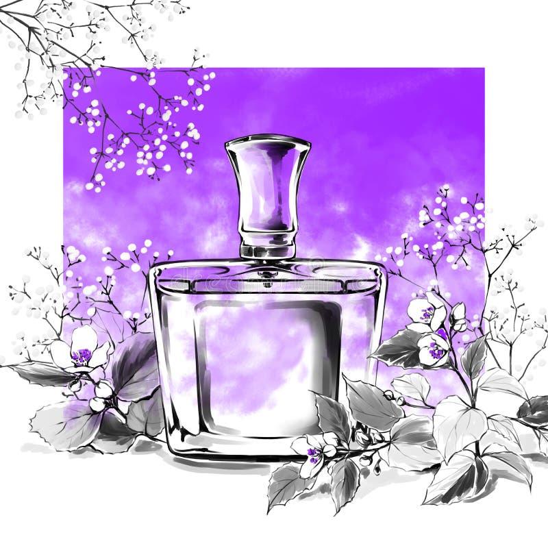 Perfume a ilustração da aquarela da fragrância do vidro de garrafa, forma ilustração stock
