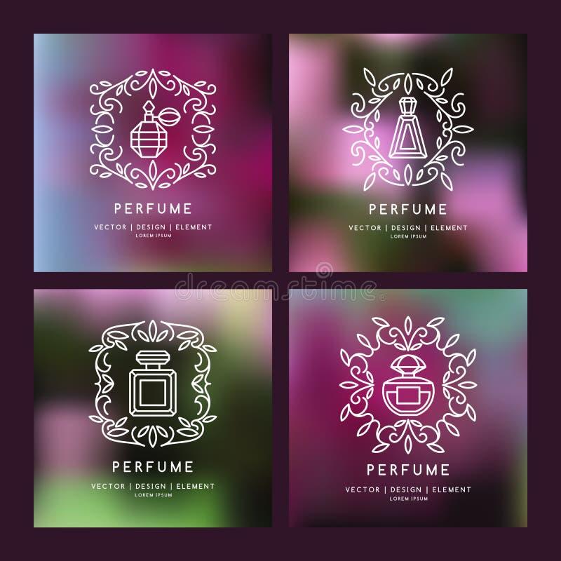 Perfume linear ajustado da imagem ao monograma ilustração do vetor