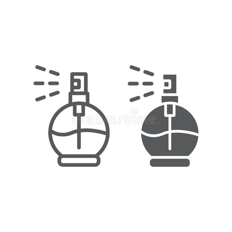 Perfume a linha e o ícone do glyph, o aroma e a fragrância, sinal da água de Colônia, gráficos de vetor, um teste padrão linear e ilustração do vetor