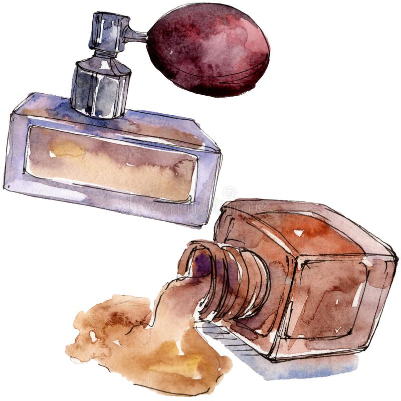 Perfume and nailpolish sketch glamour illustration in a watercolor style isolated element. Watercolour background set. Perfume and nailpolish sketch glamour royalty free stock photo
