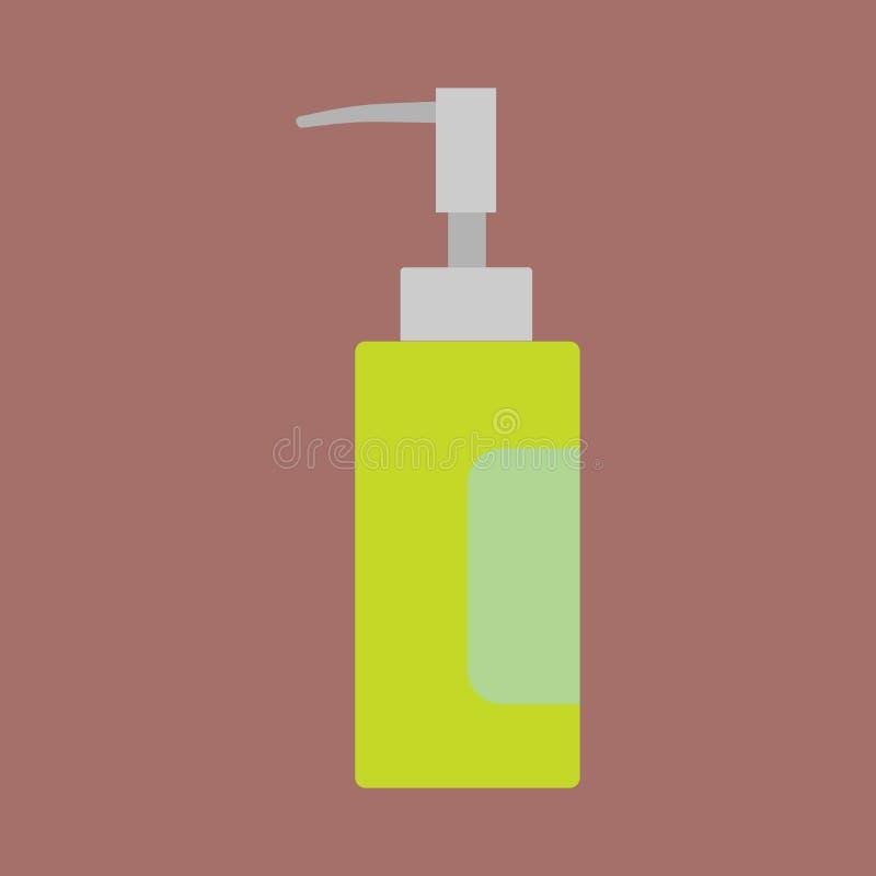 Perfume o ícone líquido do vetor do recipiente dos cosméticos do cuidado da garrafa horizontalmente Sinal de vidro verde das mulh ilustração do vetor