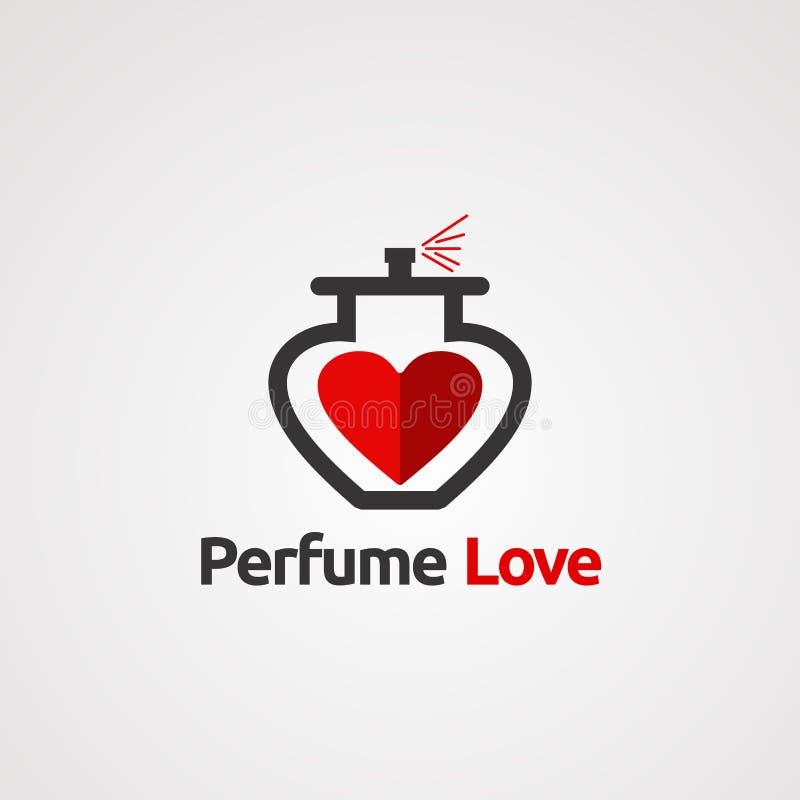 Perfume o amor vermelho com vetor, ícone, elemento, e molde elegantes do logotipo do conceito para a empresa ilustração royalty free