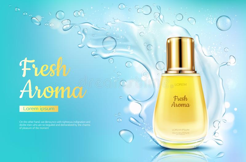 Perfume o aroma fresco na garrafa de vidro, respingo da água ilustração do vetor