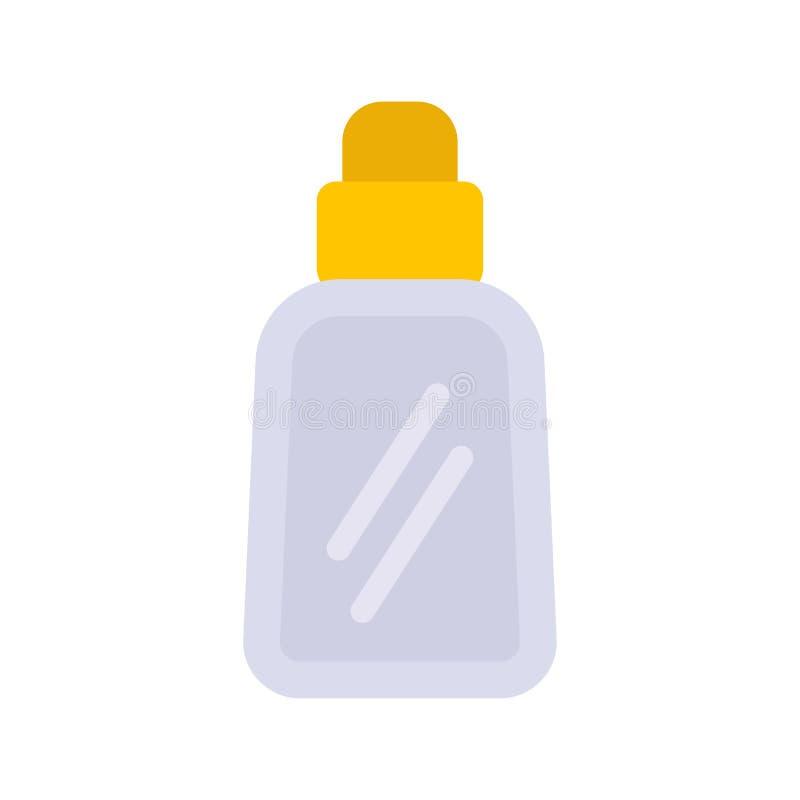 Perfume o ?cone l?quido do vetor do recipiente dos cosm?ticos do cuidado da garrafa horizontalmente Sinal de vidro das mulheres a ilustração stock