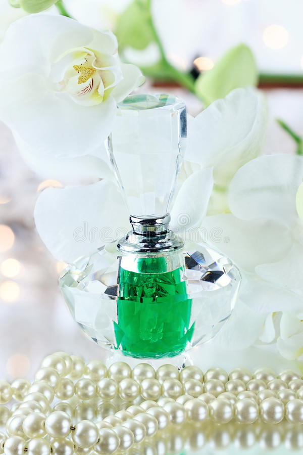 Perfume and Pearls stock photography