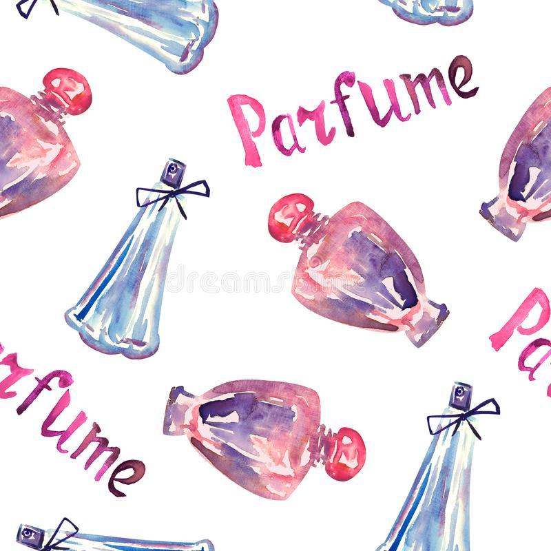Perfume pink and blue bottles, hand painted watercolor illustration, inscription `Parfume` in French, seamless pattern. On white background royalty free illustration