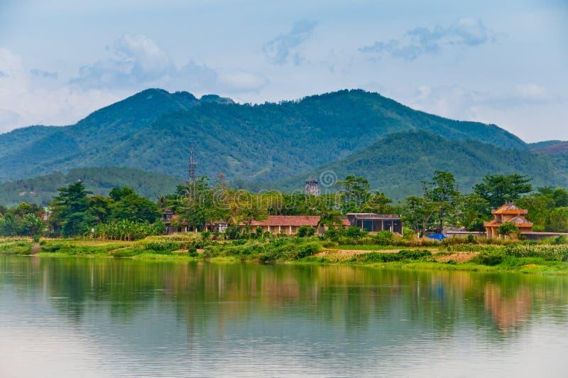 The Perfume River, Vietnam stock image
