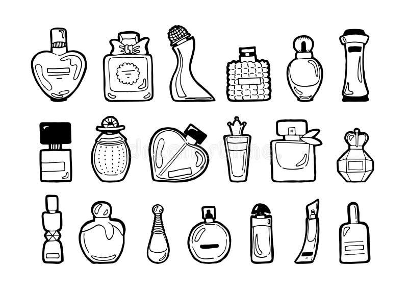 Perfume set vector bottles coloring pack vector illustration