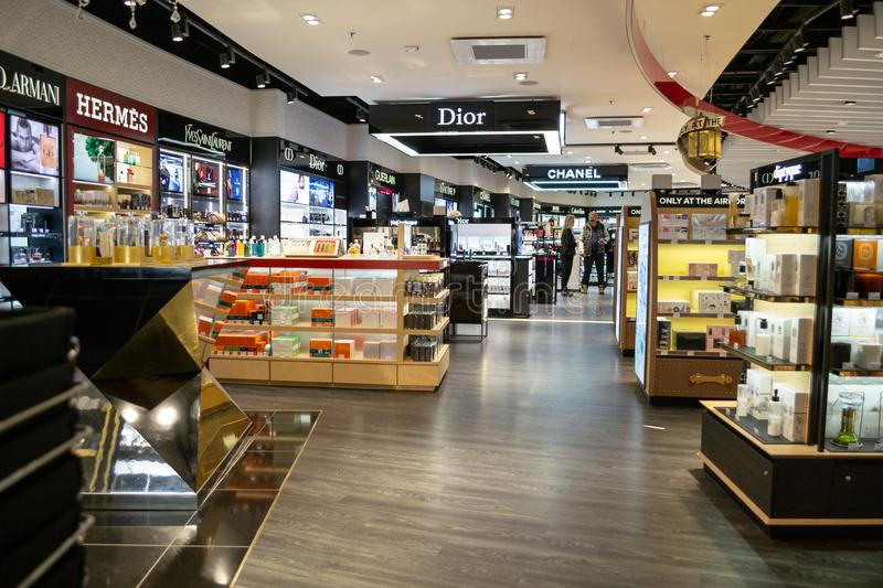 Perfume store at Saint Exupery International airport, in Lyon, with brands such as Chanel, Dior. Lyon, France - 16 March 2019: Perfume store at Saint Exupery royalty free stock photo