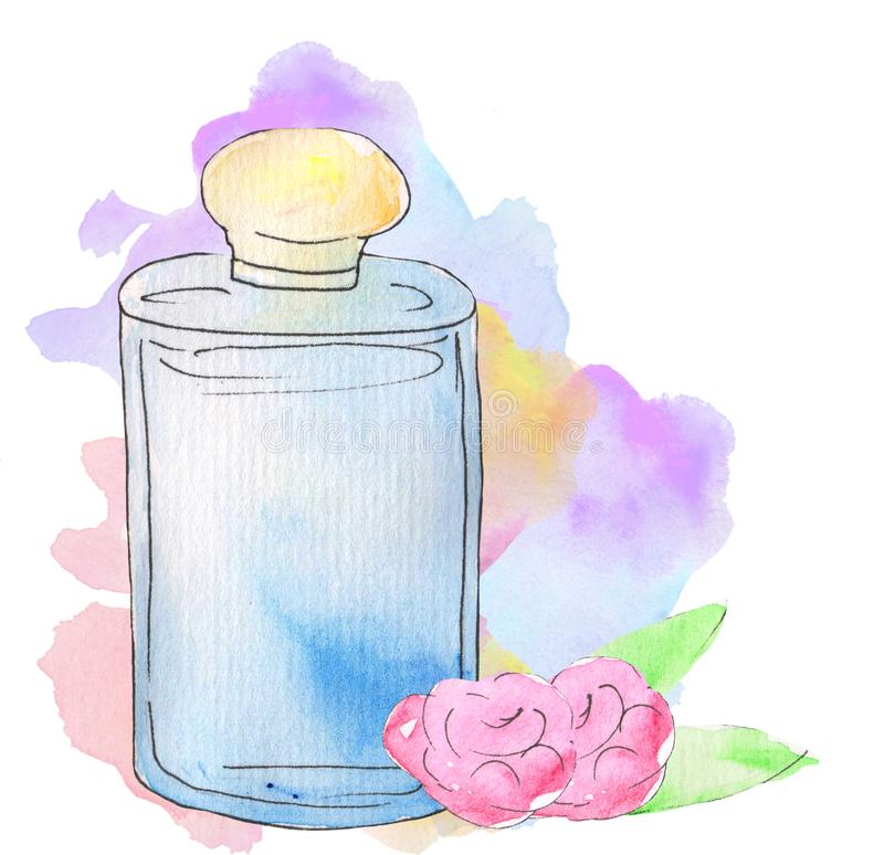 Perfume in a transparent glass pink on a colored watercolor stain. watercolor illustration for prints, design, posters, magazines.  royalty free illustration