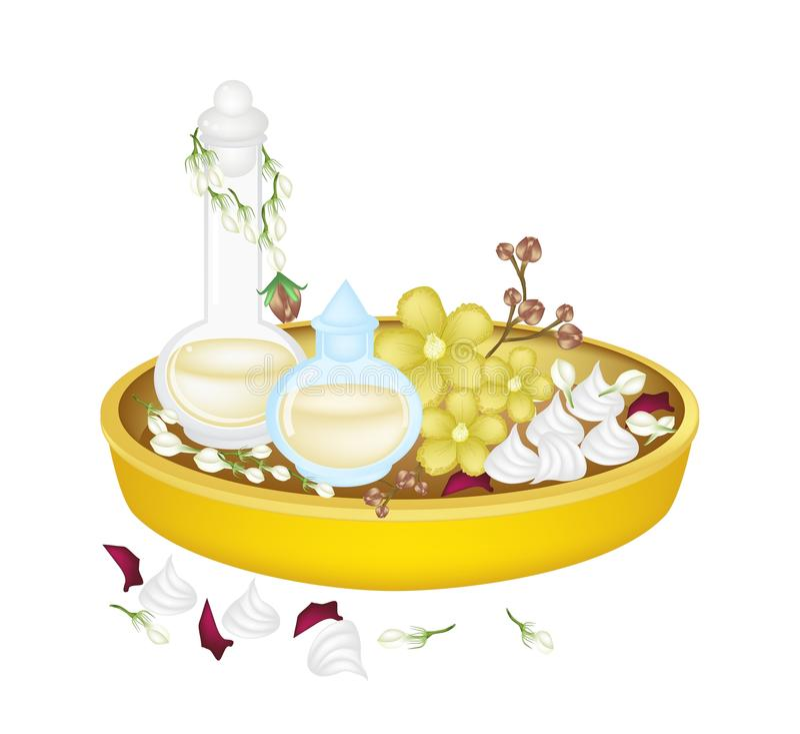 Perfume y flor en la bandeja de oro para Songkran Fes ilustración del vector