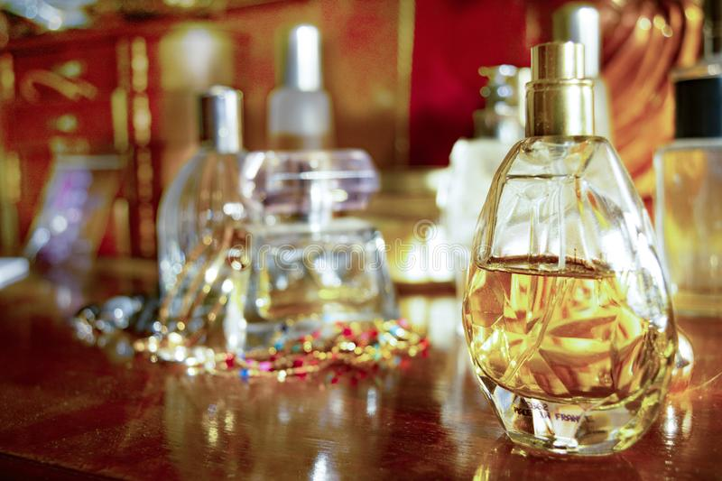 Perfumes and family jewels royalty free stock photo
