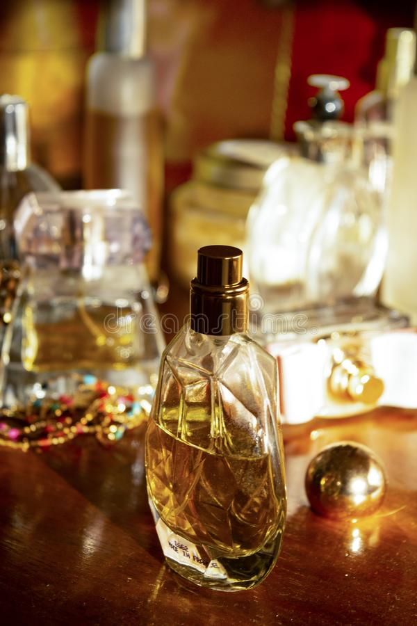 Perfumes and family jewels stock photo