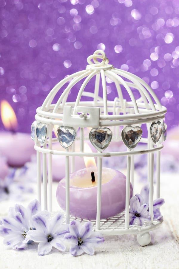 Perfumowy świeczki i rocznika birdcage wśród hiacyntowych kwiatów fotografia royalty free