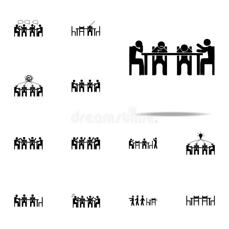 perfuração de assento, ícone do negócio Grupo universal de assento dos ícones dos povos para a Web e o móbil ilustração royalty free