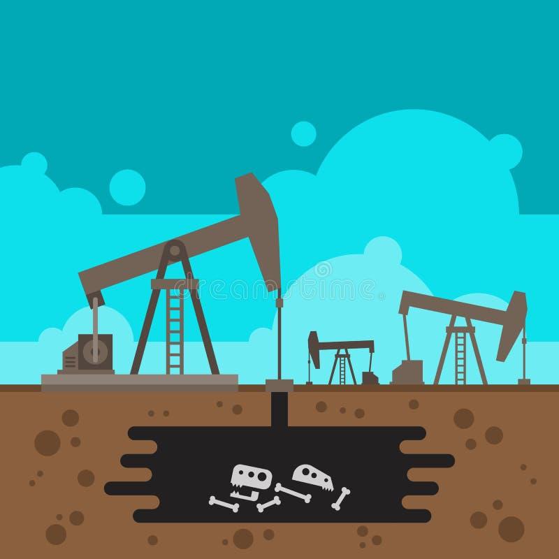 Perfuração do poço de petróleo com o fóssil subterrâneo ilustração do vetor