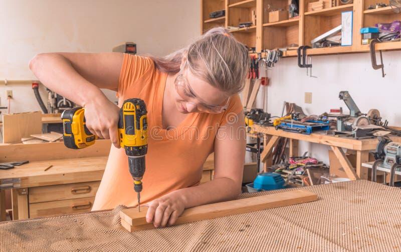 Perfuração fêmea do carpinteiro na placa fotografia de stock royalty free