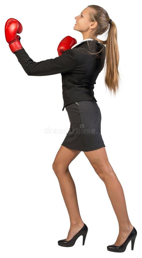 Perfuração vestindo das luvas de encaixotamento da mulher de negócios imagens de stock